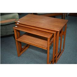 Danish made mid century modern teak three piece stacking set of nesting tables