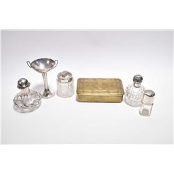 Selection of vintage sterling perfume bottles including crystal with British hallmarks, silver overl