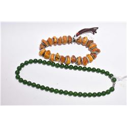 """Chinese jade beaded necklace 18' in length and a """"beeswax"""" style bracelet"""