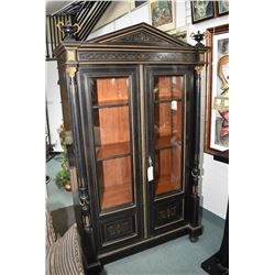 Antique French brass inlaid and ormolu decorated boulle display cabinet with ebonized original finis