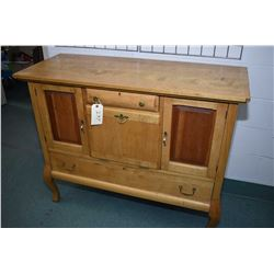 Antique Canadiana maple sideboard with two drawers, two convention doors and one drop front section