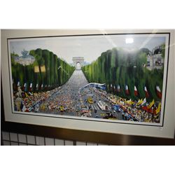"""Framed limited edition artist proof """"Tour de France-Champ 'Elysee """" pencil signed by artist 15/120"""