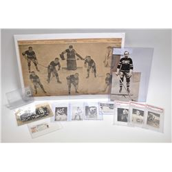 Selection of vintage hockey ephemera including three graded 1952 season hockey cards: Aldo Guidolin