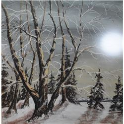 """Large framed pastel on paper drawing of a wintry wooded scene, partial artist signature seen, 25"""" X"""