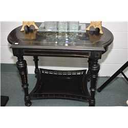 Antique ebonized console table with under shelf, featuring spindled galley, overall brass inlaid inc
