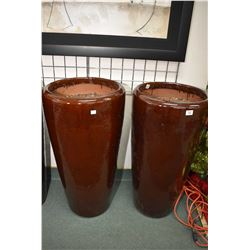 """Pair of tall glazed pottery outdoor planters 36"""" in height"""