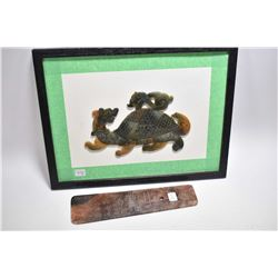 """Framed spinach jade mosaic """"Turtle Dragon"""" overall dimensions 13"""" X 17"""" and an Oriental calligraphic"""