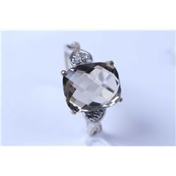 Lady's 10kt white gold smoky quartz and diamond accent ring
