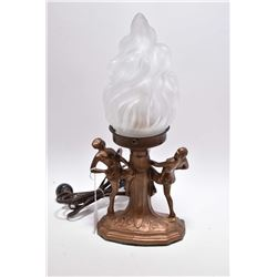 Vintage 1930's deco style spelter glass pixie lamp with flame glass shade