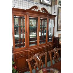 Solid mahogany illuminated chest on chest break front style sideboard display cabinet with four fron
