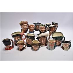 Five medium sized and eleven small Royal Doulton character jugs including Porthos, Falstaff, The Gua