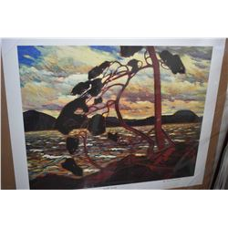 """Two unframed Group of Seven prints including """"Stormy Weather"""" by F.H. Varley and """"West Wind"""" by Tom"""