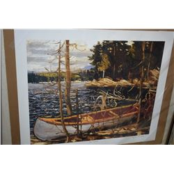 """Two unframed Group of Seven prints including """"The Canoe"""" by Tom Thomson and """"Pine Trees at Sunset"""" a"""