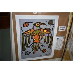 """Two unframed Norval Morriseau prints including """" Sacred Thunderbird"""" and """"Medicine Bear"""""""