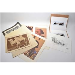 Selection of unframed art including photographs, limited edition etchings, folio of Indian Chiefs in