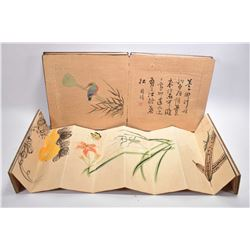 Chinese watercolour painting album of birds and calligraphy and a small album of flowers and insects