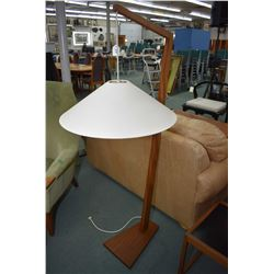 Mid century modern teak floor lamp with shade
