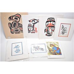 """Seven unframed Haida prints including limited edition """"Thunderbird"""" 45/229 and """"Dogfish"""" 160229 both"""