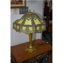Antique brass lamp with bent glass shade circa 1900