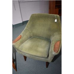 Pair of mid century modern teak framed his and hers parlour chairs including one with matching ottom