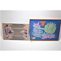 """Two vintage stretcher framed acrylic on canvas paintings including """"En Camarague"""", 16"""" X 19 3/4"""" and"""