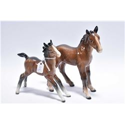 Two Beswick foals including No. 836 Stretched foal and No.951 Shire foal