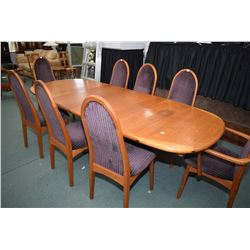 """Large teak mid century modern dining table with two 20"""" inset leaves, making for a total table size"""