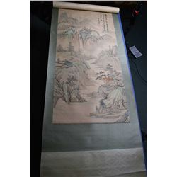 """Two large decorative hand painted scrolls including bamboo plant 66"""" X 35"""",and an artist signed moun"""