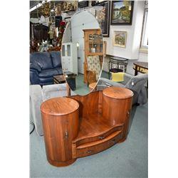 English walnut Art deco walnut drop vanity with mirror and interesting demi-lune opening cupboards m