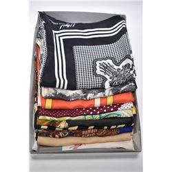 Lot of 10 vintage silk designer long scarves including LaForat, Jax, Nygard, Nicole Miller, Furstenb
