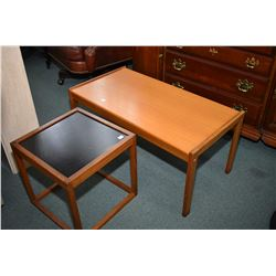 Two pieces of mid century modern furniture including a Danish made teak coffee table and an unmarked