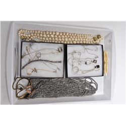 """Tray lot of collectible jewellery including a 36"""" strand of pearls, sterling necklaces, bracelet and"""