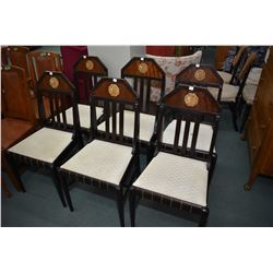 Set of six Art deco mahogany dining chairs including one carver with simulated carved cameos decorat