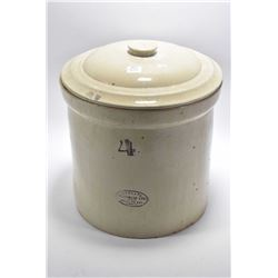 Four gallon Medalta stoneware crock with lid