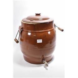 Five gallon stoneware ice water jug with spigot