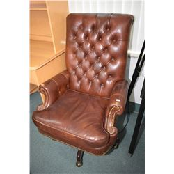 Genuine leather button tufted swivel office chair made by Hancock and Moore Fine Furniture, Hickory