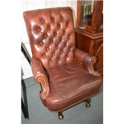 Genuine leather button tufted swivel office chair made by Hancock and Moore Fine Furniture, Hickory,