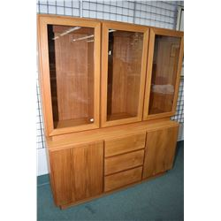 Mid century modern teak veneered chest on chest china cabinet