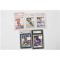 Five graded hockey cards including four O-Pee-Chee: Mike Modano rookie, 10 gem. mint, Alexander Mogi