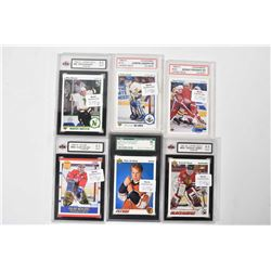 Six Graded Hockey Cards Including Five Upper Deck Sergei Fedorov
