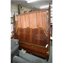 Top quality king sized matched grain mahogany and tiger maple four poster bed with canopy made by Co