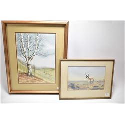 Two framed original watercolour paintings including a lone birch tree signed by artist E Dummine' 76