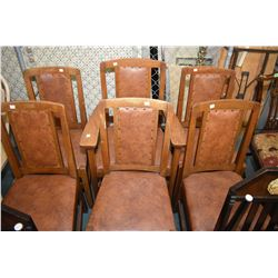 Set of six antique quarter cut oak Mission style dining chairs including one carver, appears to be o