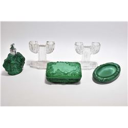 Vintage malachite glass lidded dresser box, perfume and pin tray plus a pair of colourless glass dou