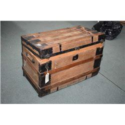 Antique oak bound steamer trunk