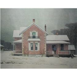 """Framed limited edition print """"Pink Farmhouse"""" from an original A.J. Casson painting, 203/300"""