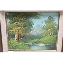 Three framed original oil on canvas paintings including two landscape and one seascape, various arti