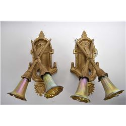 Pair of Victorian wall sconces with iridescent fluted shades