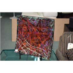 """Artisan designed art glass plate with display stand, signed by artist Larry Gutterson, 15 1/2"""" squar"""