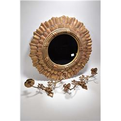 Starburst style wall mirror and a pair of brass double branch candle sconces
